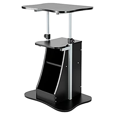 Laptop Cart, Adjustable Height Rolling Mobile Standing Notebook Desk Table Storage Compartment Black, Height from 26 to 43.7 inches