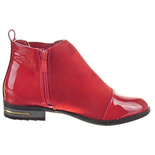 Sopily - Scarpe da Moda Stivaletti - Scarponcini Chelsea Boots donna lucide Zip Tacco a blocco 2.5 CM - Rosso