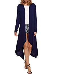 Meaneor Women's Long Sleeve Waterfall Asymmetric Drape Open Long Maxi Cardigan