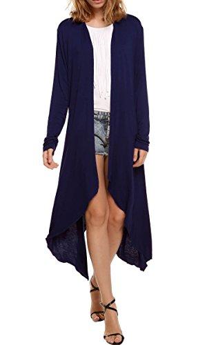 Meaneor Women's Long Sleeve Waterfall Asymmetric Drape Open Long Maxi Cardigan,  X-Large, Navy ()