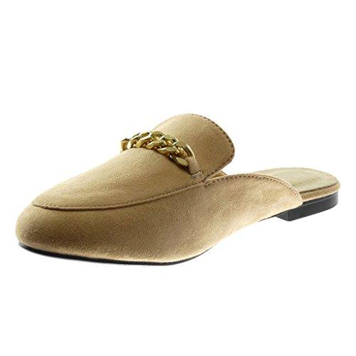 Slip Cm Ciabatte Moda Orientali Scarpe 5 1 Catena D'oro Angkorly Donna Tacco Blocco A Beige on wBqxI66