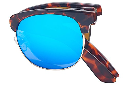 (Foldies Tortoise Shell Folding Browline Sunglasses with Polarized Blue Mirror Lenses)