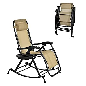 Outsunny Rocking Sunlounger Chair with Headrest Beige