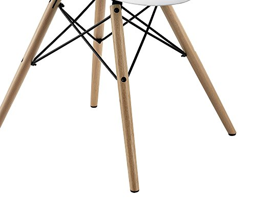 DHP Mid Century Modern Chair with Wood Legs, Set of Two, Lightweight, White by DHP (Image #9)