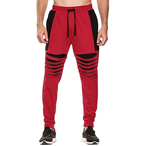 Fashion Men's Broken Hole Casual Solid Loose Sweatpants Trousers Jogger Pant,PASATO Clearance Sale(Red, L) by PASATO