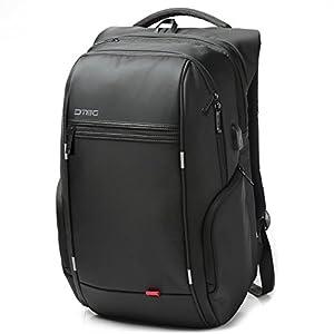 17.3 Inch Laptop Backpack with USB Port,DTBG Nylon Water-Resistant Work Laptop Rucksack College Shoulder Back Pack Travel Bag Hiking Knapsack For 17 - 17.3 Inches Laptop Notebook Computer,Black
