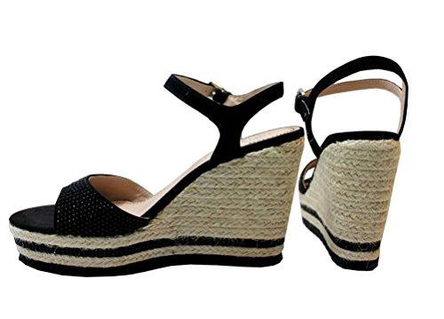Cafenoir - Sandalias de vestir de ante para mujer negro
