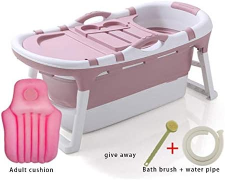 子供用バスタブ折り畳み式家庭用プール大人用大型全身バスタブ二重排水設計,Pink-121*63*54cm
