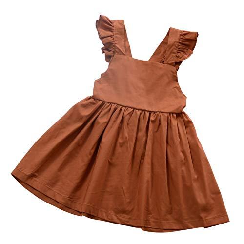 (Cute Kids Baby Girls Dress Summer Backless Dresses Bandage Lace Vest Bowknot Pumpkin Color Vintage Children's Dress,Pumpkin Color,ZT)