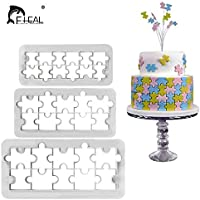 FHEAL 3pcs Geometry Puzzle Shaped Biscuit Cookie Cutter Cake Mold Dessert Fondant Cake Decorating Tools Baking Moulds Bakeware
