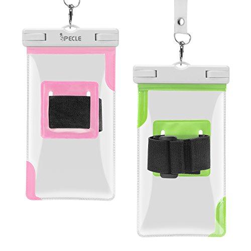 ispecle Rückbeleuchtung Schutzhülle mit Sportarmband TPU absteppungen, 2 Pack Wateproof Case With Armband Black Red 2 Pack Waterproof Case With Armband Green Pink