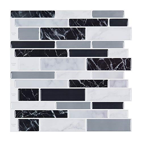 LONGKING 10-Sheet Peel and Stick Tile Backsplash, Vinyl 3D Self-Adhesive Tile Stickers for Kitchen, Bathroom, Counter Top, Marble 79 ...