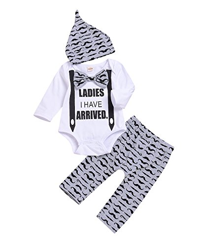 Kashoer 3Pcs Newborn Baby Boy Girls Bowtie Letters Romper Suit+Long Moustache Pant+Hat Kid Playsuit Pajamas (White, 0-3Months) - Newborn Boys Outfits