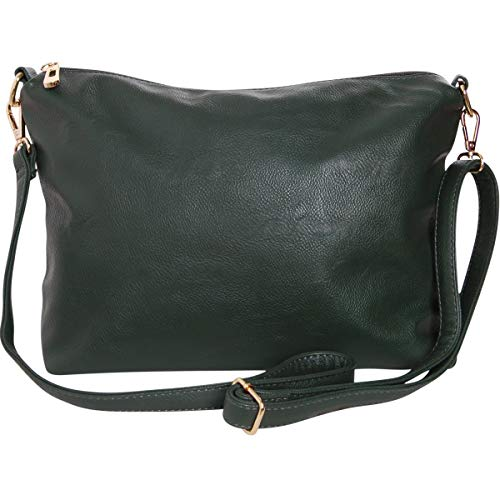Green Zippered Faux Leather Purse - Humble Chic Crossbody Bag - Vegan Leather Satchel Messenger Handbag Shoulder Purse, Hunter Green, Dark Forest Green, Olive