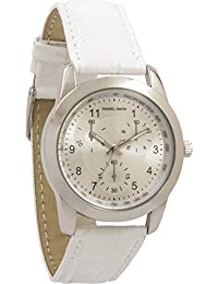 Womens | Original Silver-Tone White Genuine Leather Tachymeter Watch | DD13301