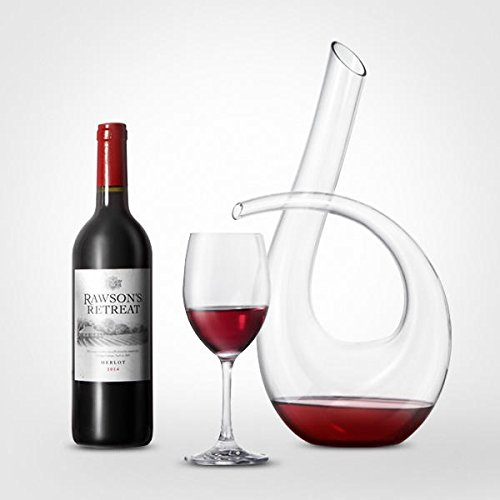 Columbus Carafe - KC-RD82 1200ml Lead Free Crystal Glass Number 6 Shape Horn Wine Decanter Carafe Aerator Pourer - Bar Tools & Accessories Wine Decanter & Pourers