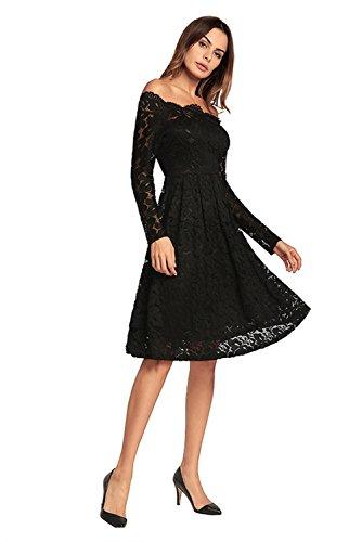 Vintage Lace Cocktail Dress Amoluv Boat Neck Black Women's Floral w6Tq5tF