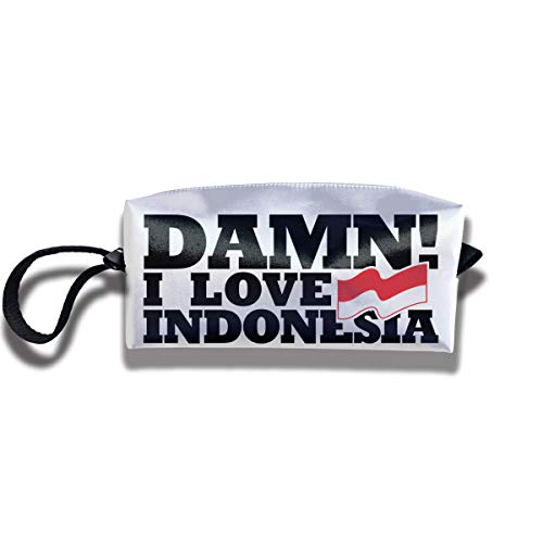 Coin Pouch I Love Indonesia Pen Holder Clutch Wristlet Wallets Purse Portable Storage Case Cosmetic Bags Zipper