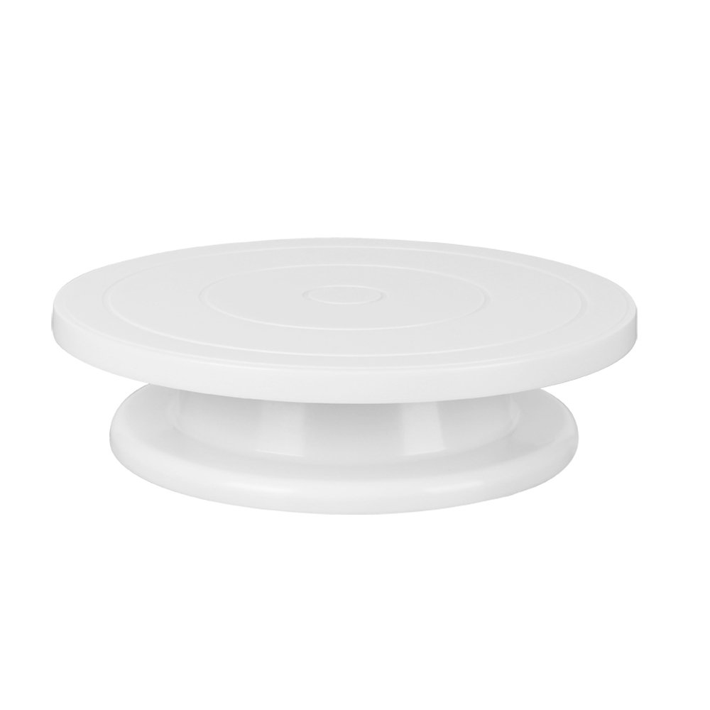 Ohuhu Cake Turntable/ 360 Degree Revolving Cake Decorating Stand/ 11 Inch Cake Stand Elegant White
