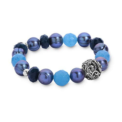 Carolyn Pollack Sterling Silver Teal Blue-Green Quartzite & Dyed Freshwater Cultured Pearl Stretch Bracelet - Small to Medium