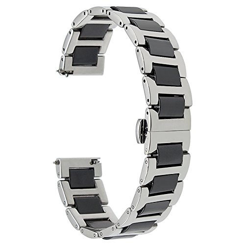 TRUMiRR 18mm Ceramic Watch Band Quick Release Strap Bracelet All Links Removable for Huawei Watch 1st/Fit Honor S1, Asus Zenwatch 2 Women 1.45'' WI502Q, Withings Activite/Pop/Steel HR 36mm