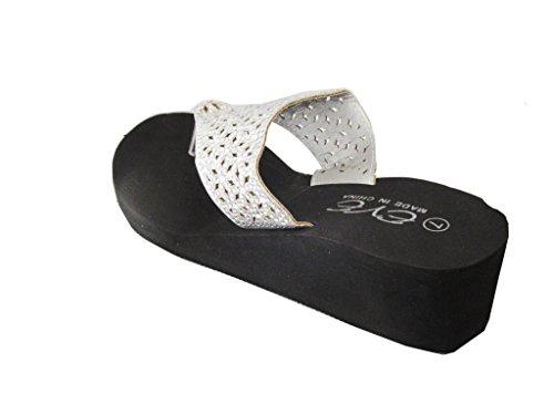 EVE Womens Fashion Platform Glitter Rhinestone Flip Flops Wedge Sandals Silver slhElmPl
