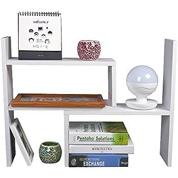 TOP MAX Desktop Bookshelf Adjustable Storage Organizer Rack Countertop Bookcase Display Stand Desk Tidy Office Supplies Holder Unit White