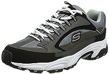 Skechers Men's Stamina-Cutback Trainers, Grey (Charcoal Leather/Mesh/Red Trim Ccrd), 9 UK (43 EU)