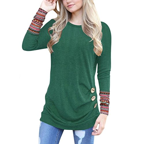 YANG-YI 2017 Hot Sale, Women Long Sleeve Loose Button Trim Blouse Patchwork Round Neck Tunic T-Shirt (Green, L) (Trim Tunic Print)