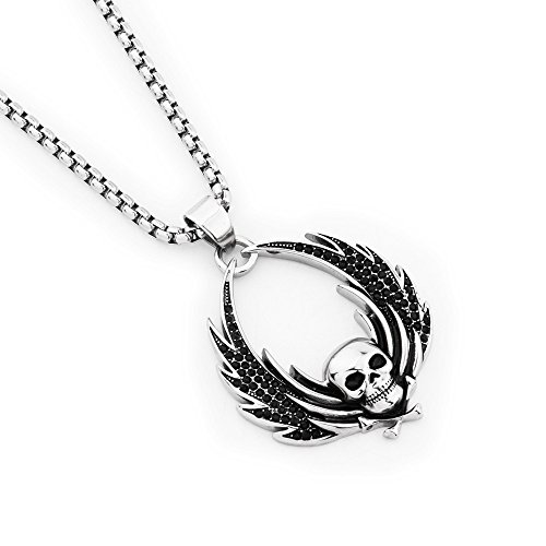 Wings Pendant Box Chain St. Steel Necklace Gifts ()