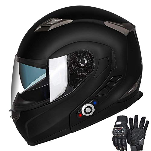 Motorcycle Bluetooth Helmets,FreedConn Flip up Dual Visors Full Face Helmet,Built-in Integrated Intercom Communication System(Range 500M,2-3Riders Pairing,FM radio,Waterproof,XL,Matte -