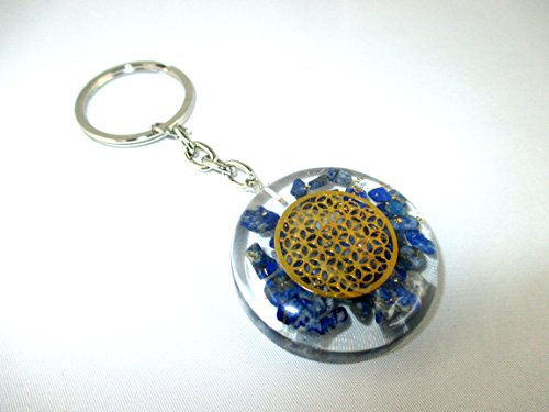 Taking Back Sunday Stickers (Orgone Keychain - HiJet Beautiful Lapis Lazuli Flower of life Orgonite Key Chain Ring Orgone Generator Balancing Positive Energy Harmony Luck Yoga Meditation Reiki Natural Genuine Authentic)