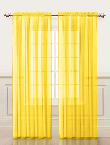4 Piece Sheer Window Curtain Set for Living Room, Dining Room, Bay Windows: 2 Voile Valance Curtains and 2 Panels 90 in Long (Yellow) (Treatments Window Window Bay Valances)