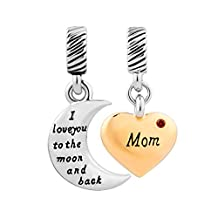 Mom I Love You To The Moon And Back Crystal Heart Charms Beads For Bracelets