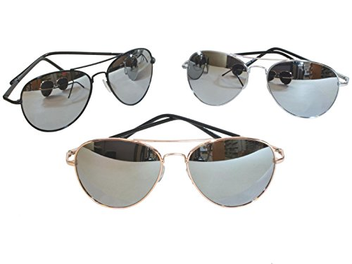 G&G Chrome Metal Silver Mirrored Aviator Sunglasses 3 Pair Special Spring Hinges, 1Chrome 1Black - Pair Good Of Sunglasses