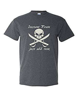 Thread Science Instant Pirate Just Add Rum Caribbean Skull Sword Bone Funny Adult Mens Humor Tee Pun Graphic T-shirt Heather Black