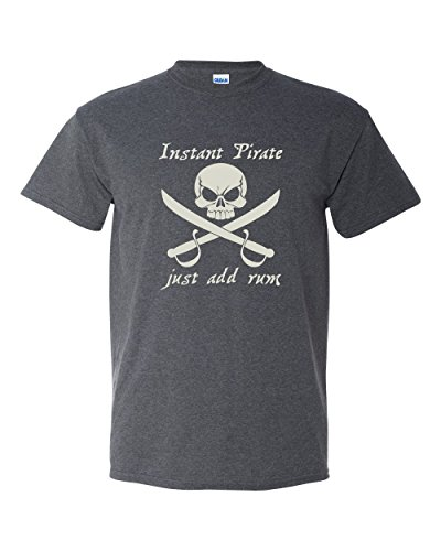 Pirate Graphic (Thread Science Instant Pirate Just Add Rum Caribbean Skull Sword Bone Funny Adult Mens Humor Tee Pun Graphic T-shirt Heather Black … (Medium))