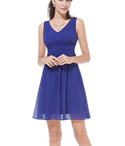 Aurora Neck Bridesmaid V Prom Blue Dresses Short Gown Bridal Chiffon qwrrxpUI5E