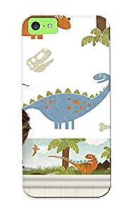 Iphone 5c Case Slim [ultra Fit] Cartoon Dinosaur Border 141f Lelands Protective Case Cover(best Gift Choice For Friends)