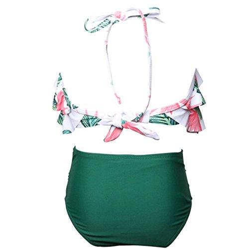 Figlia due costume Mamma completo pezzi Verde Qunlei e da Bikini bagno vita a per alta SwxXHnUz