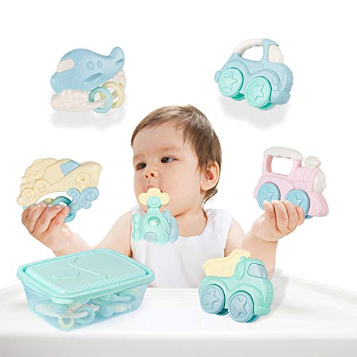 Newborn Train Set - Vehicle Model Rattle Teether Infant Kids Natural Rubber Activity Molar Toys Ball Shaker Musical Sound Play Set Boys Girls for 1 3 6 12 18 Month Old Best Gifts for Newborn Baby Games Car Train Airplane