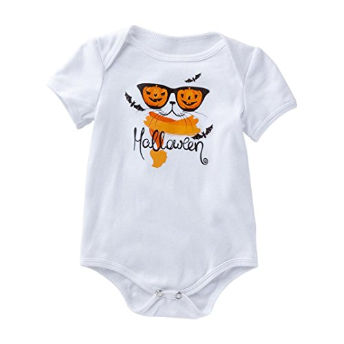 iOPQO Halloween Rompers for Kids, Newborn Infant Baby Ghost Print T-Shirt Tops