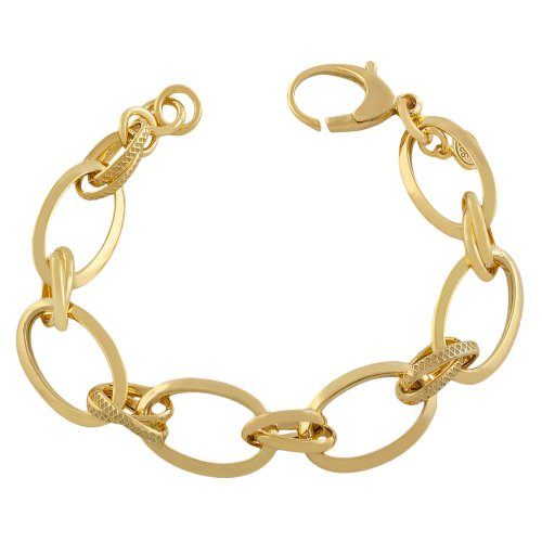 Yellow Gold Over Sterling Silver Textured High Polish Cable Link Adjustable Bracelet (8 inch)