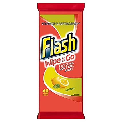 Flash Wipe & Go toallitas de limón 40 por paquete