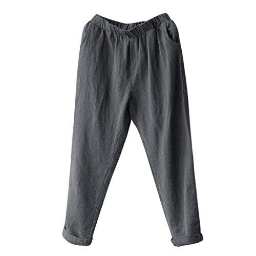 Clearance Sale Plus Size Harem Pants vermers Women Linen Baggy Casual Loose Trousers(M, Gray)