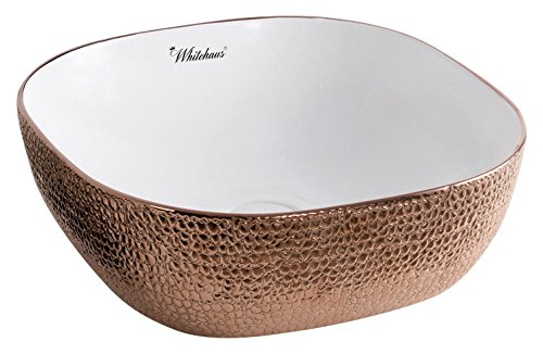 (Whitehaus Collection WH71301-F23 Isabella Plus Collection Square Above Mount Basin with an Embossed Exterior, Smooth Interior, and Center Drain White/Rose)
