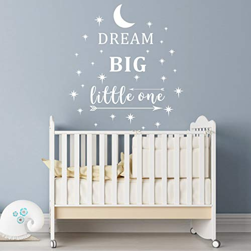 - Dream Big Little One Wall Decal, Wall Sticker Quote, Nursery Wall Decal, Removable Vinyl Stickers for Children Baby Kids Boy Girl Bedroom (A24) (White)