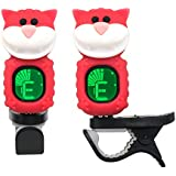 Guitar Tuner Clip-On Cartoon Cat with LCD Display for All Instruments with Bass, Ukulele,Violin Accessories-Red,T-07