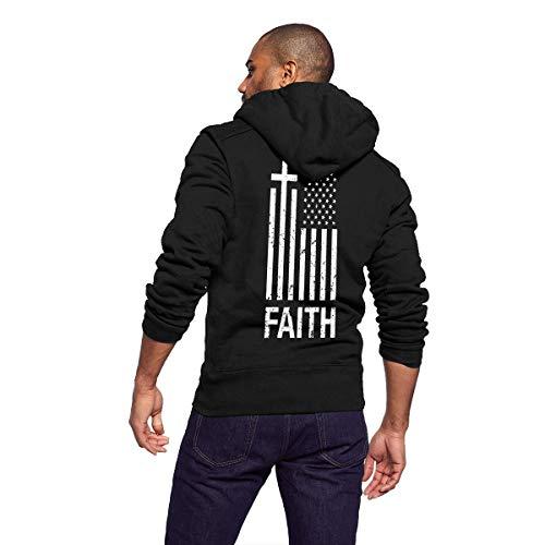 Gaga.idol.Type hoodies Men's Athletic Soft Sherpa Lined Fleece Zip Up Hoodie Sweater Jacket Hooded Zip Front Sweatshirt - Christian Distressed Cross American Flag Faith (Faith Zip Hoodie)