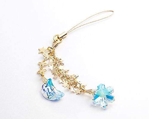 (Kisaragi Cell phone Strap 039 crescent & snow crystals - Crystal Aurora (Gold Court))